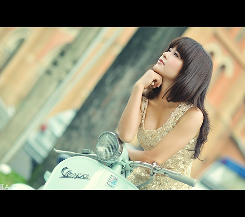 Beautiful Girl and Vespa by TA.D