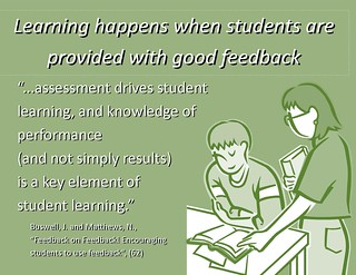 "Educational Postcard: ""Learning Happens when students are provided with good feedback"""