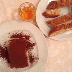 Tiramisu, raisin wine, and biscotti at L'Osteria di Giovanni. #onthetable #travelgram
