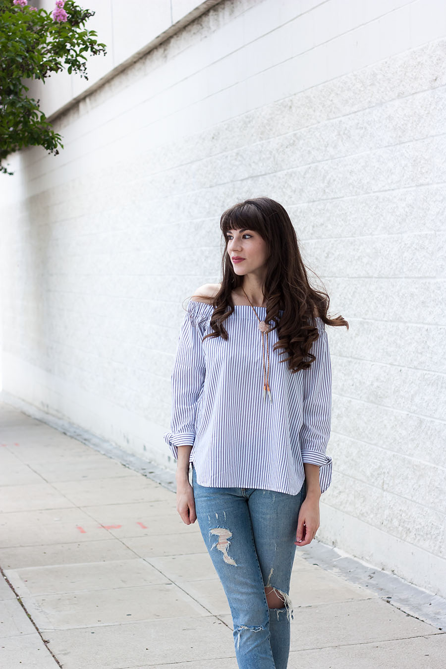 Summer Outfit, Off the Shoulder Top with Ties, Distressed Skinny Jeans, Dear Survivor Jewelry