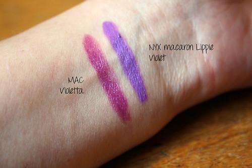 purple lipstick swatches