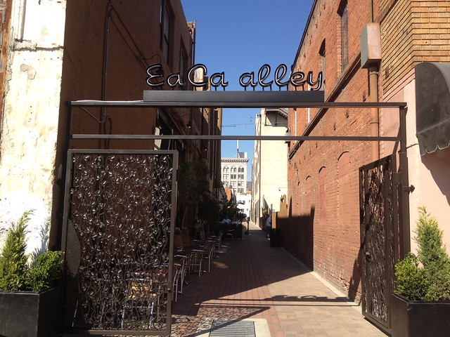 Strolling the new East Cahuenga Alley in Hollywood.