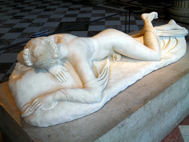 Borghese Hermaphroditus, Roman copy of the 2nd century AD after a Hellenistic original of the 2nd century BC, from Rome, Louvre Museum