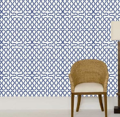 cole and son vivienne westood squiggle wallpaper blue and white