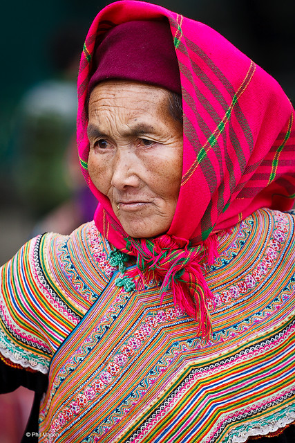 Flower Hmong woman in Bac Ha market, Vietnam