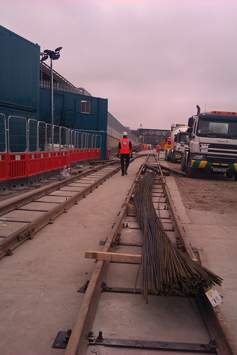 Walking down tracks at Crossrail site