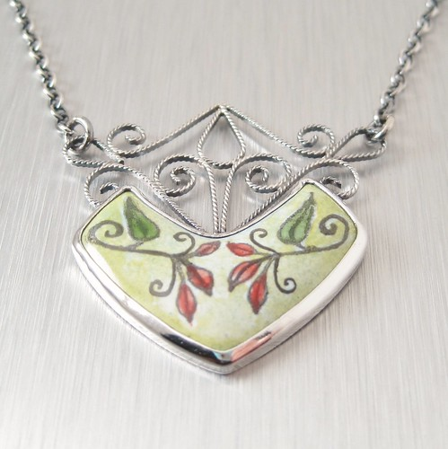 Handmade enamel and filigree pendant by copperheart