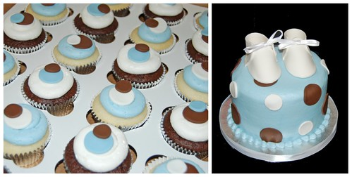 blue and brown polka dot baby shower cupcake tower
