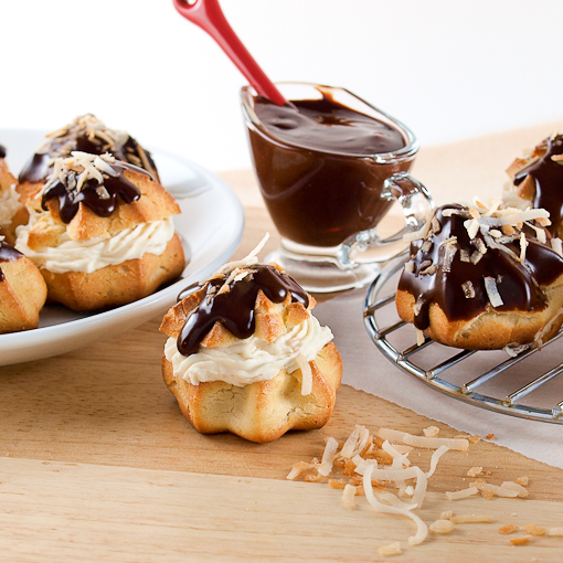 Chocolate Glazed Coconut Cream Puffs