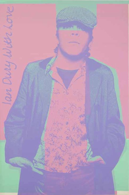 Ian Dury With Love, 60in x 40in poster for the 1977 Live Stiffs tour, designed by Barney Bubbles.440