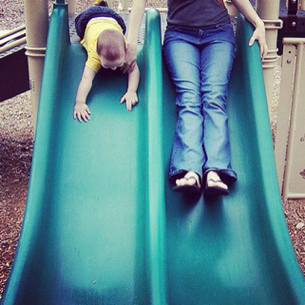 When Skyler was a baby: on the slide
