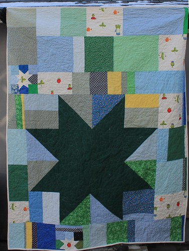 Back of Veggie Star Scrap Quilt