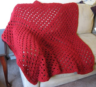 red granny square throw