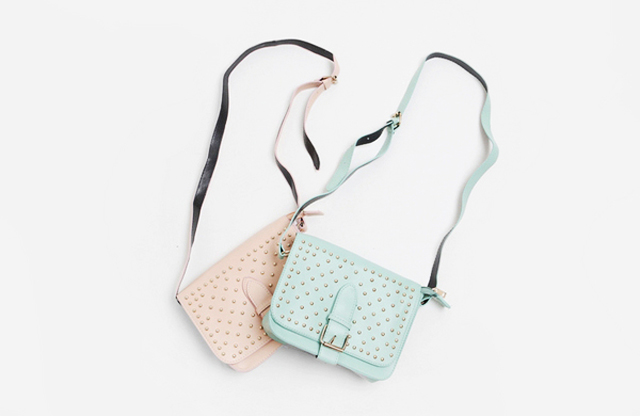 mint studded crossbody bag
