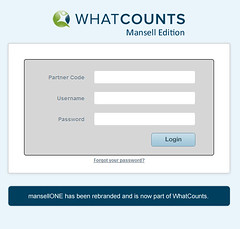 WhatCounts Customer Login Screen for Mansell Edition