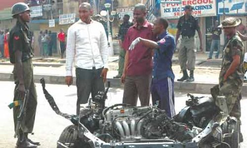 Nigerian city of Kaduna where cars were destroyed in bomb blasts blamed on Boko Haram. The conflict is ongoing inside the West African state. by Pan-African News Wire File Photos