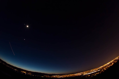 Venus, Jupiter and the Moon over Denver
