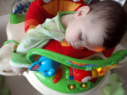 Crashed out in the bouncer