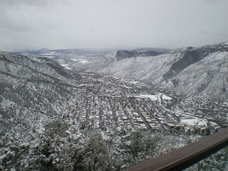 View from the deck at Glenwood Caverns on a snowy day