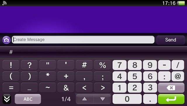 PS Vita on-screen keyboard (numbers and symbols)