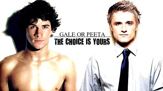 Gale and Peeta from the Hunger Games movie, with text that reads Gale or Peeta: The choice is yours