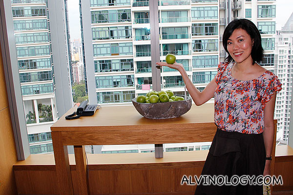 Fresh apples on every floor of the lift lobby