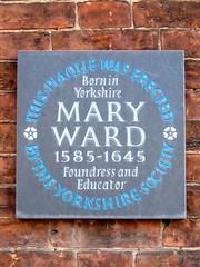 Photo of Mary Ward grey plaque
