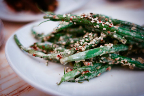 French beans, smoked wheat, tahini lemon dressing