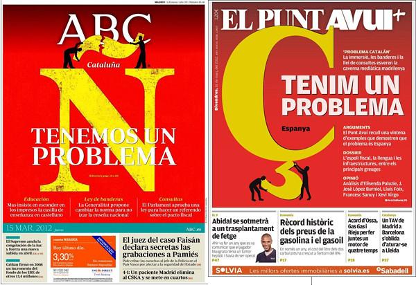 Portadas de ABC del jueves 15 de marzo y de El Punt Avui del viernes 16, respectivamente