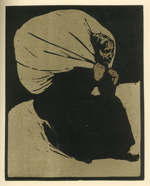 William Nicholson.  Alte Frau (Old Woman). Original woodcut.  Berlin, 1897.  Pan. Vol. III, no. 3.