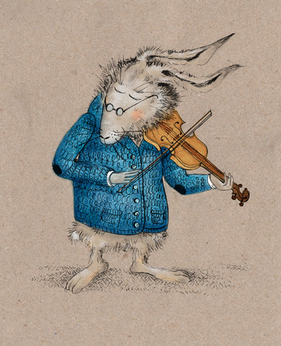 Harold the hare playing the violin
