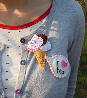I love tea Ice cream felt brooch