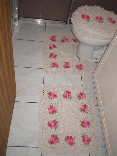 Rosa Para Tapete De Barbante : Tapete De Croche Verde E Rosa