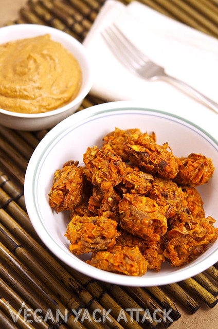 These Baked Spicy Sweet Potato Tots pair perfectly with a side of homemade, vegan chipotle aioli! Serve them with a tasty veggie burger for a nice meal.
