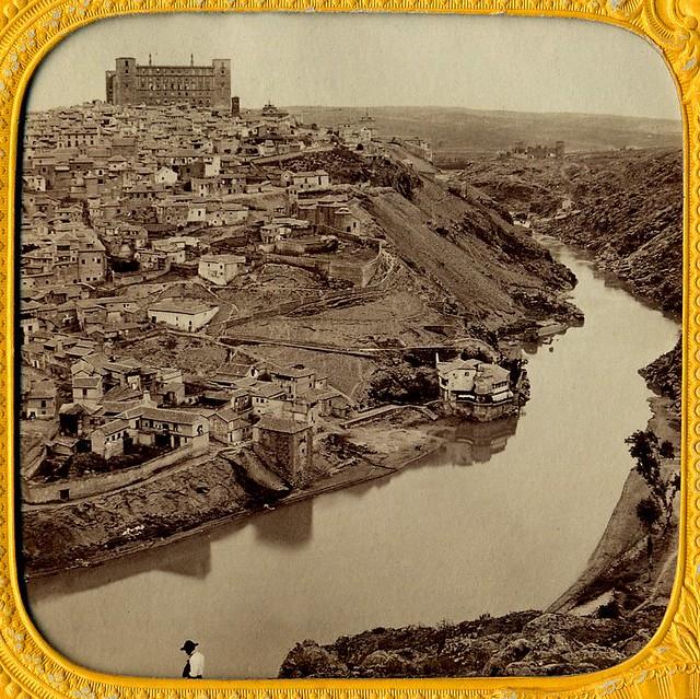 Vista de Toledo hacia 1870. Detalle de una imagen estereoscópica tipo tisú (sin luz posterior) de Ernest Lamy