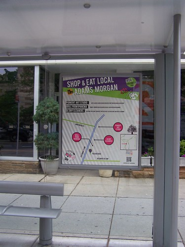 Local business directory information in a bus shelter, Adams Morgan