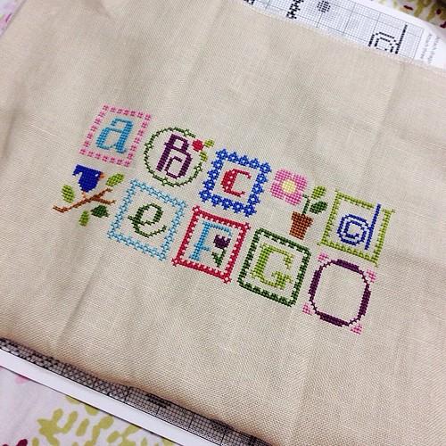 Stitching update! #lizziekate #springalphabet #crossstitch #sashathestitcher #onestitchatatime #busyhandshappyheart ❤️