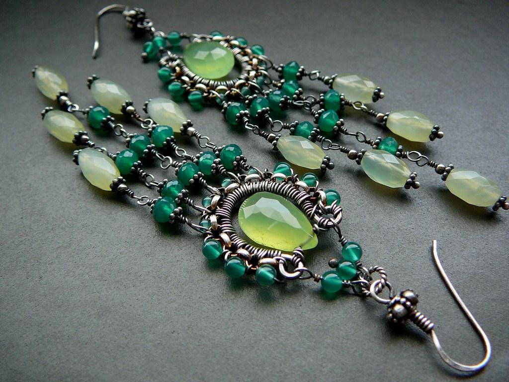 Fresh Greens Wire Wrapped Chandelier Earrings