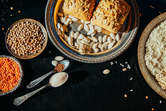 Antique plates with cereals and legumes