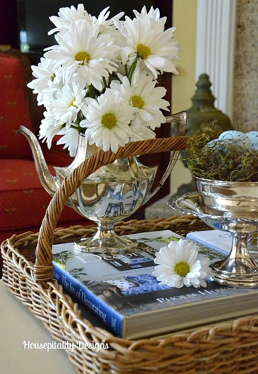 Daisies in Silver Teapot - Housepitality Designs