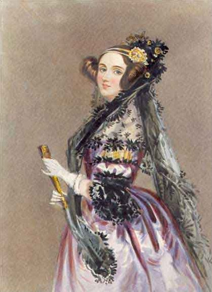 portrait of Ada Lovelace with Princess Leia-style hair, flower and black lace headpiece, and purple dress with puffed sleeves and bustle, holding fan