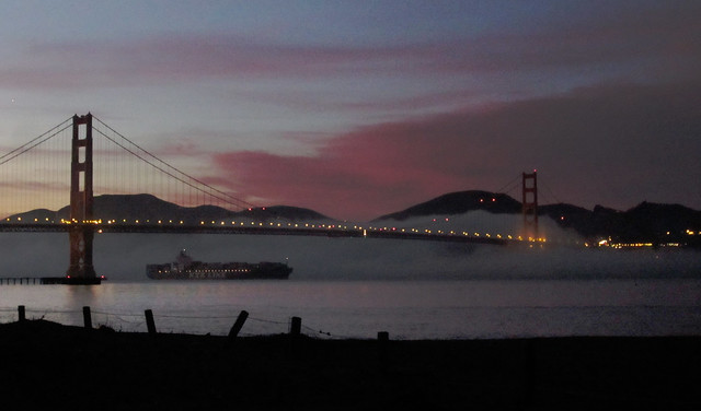 NYK Container Ship under the Golden Gate Bridge at dusk (2012)