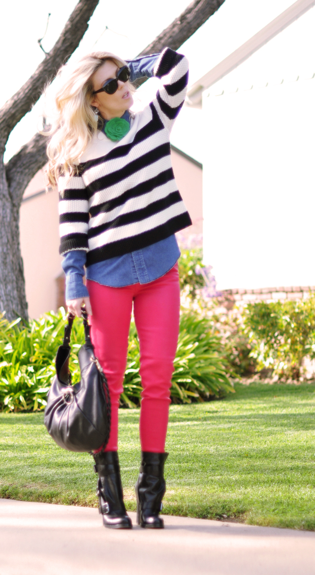 bright pink pants jeans- striped sweater-outfit-boots
