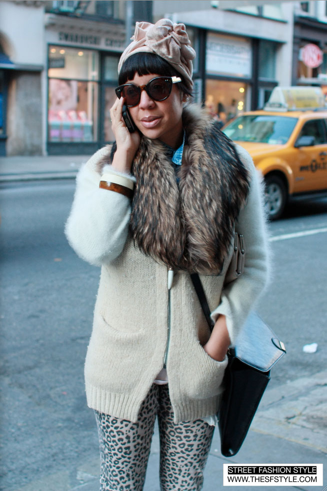 girlfur1 fur, leopard print, head wrap, street fashion style, nyc, new york