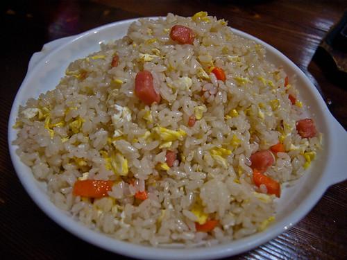 Comida china - arroz con huevo, zanahoria y jamón