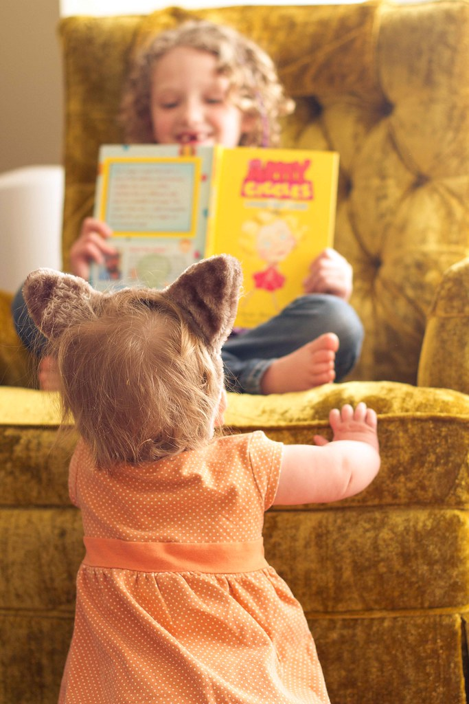 Addie reading to Vivi