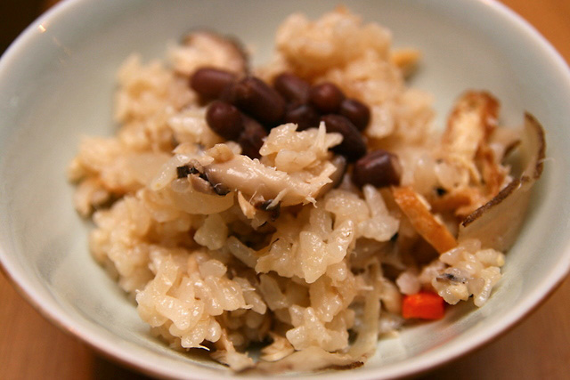 Tokachi Azuki Sekihan - steamed rice with Tokachi red beans and shredded Hokke fish meat