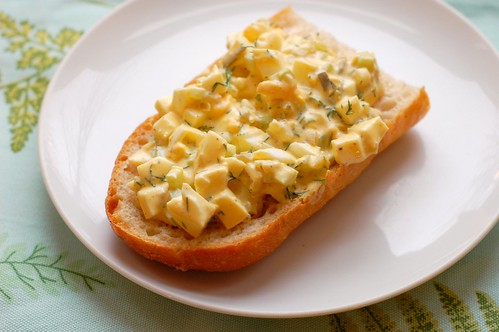 Classic egg salad on baguette by Eve Fox, Garden of Eating blog, copyright 2012