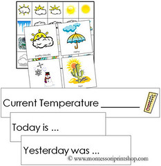 Free Weather Tracking Cards (Image from Montessori Print Shop)