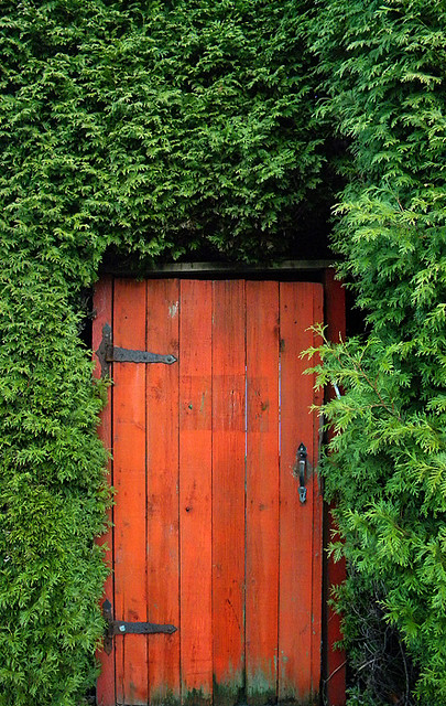 red gate in a  green hedge